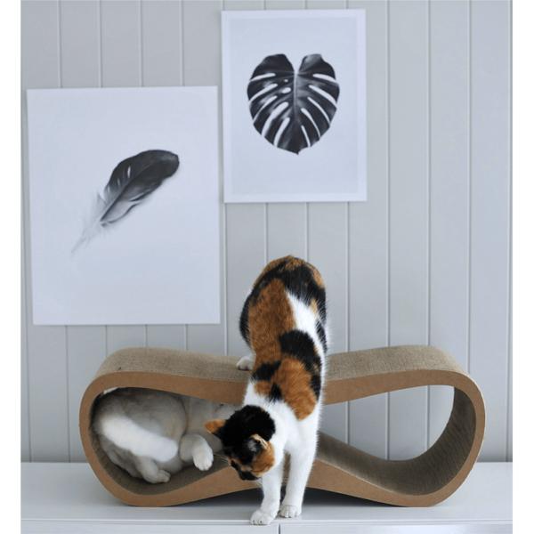myKotty LUI scratcher duurzaam kartonnen krabmeubel voor katten bruin