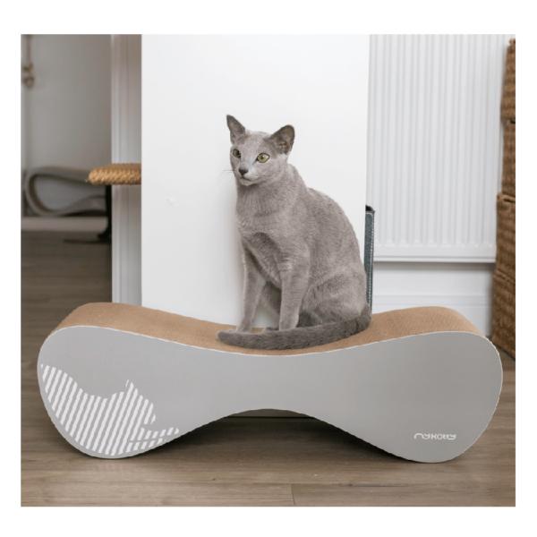 myKotty VIGO grijs duurzaam kartonnen krabmeubel voor katten grijs kat krabt