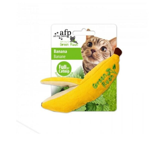 kattenspeeltje AFP All For Paws Green Rush Banana banaan gevuld met super kattenkruid catnip detail