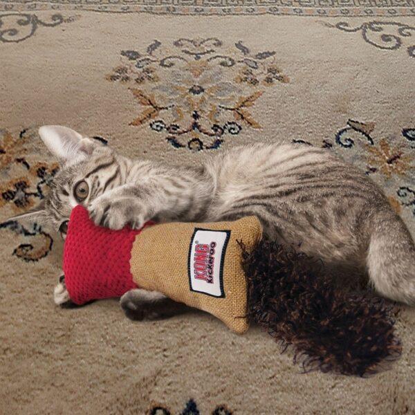 Kong Kickeroo Cuddler met kattenkruid catnip groot trappelkussen kattenspeeltje