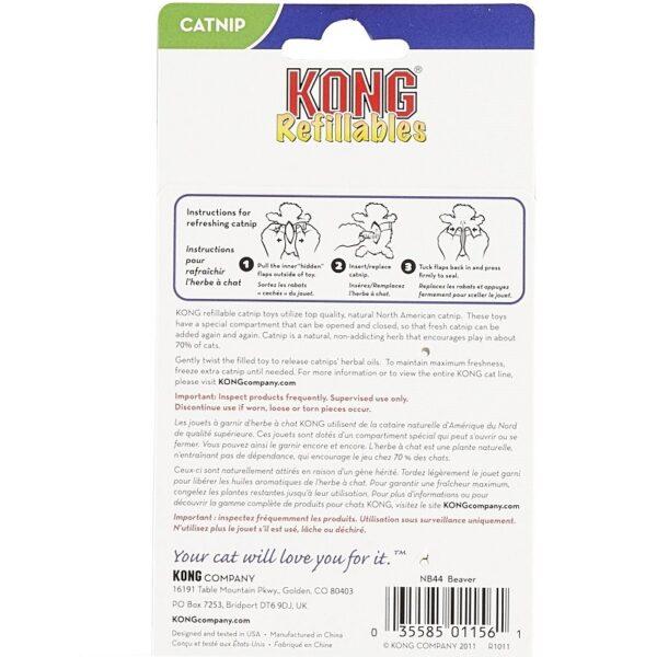Kong Refillables met kattenkruid catnip hervulbaar Beaver kattenspeeltje