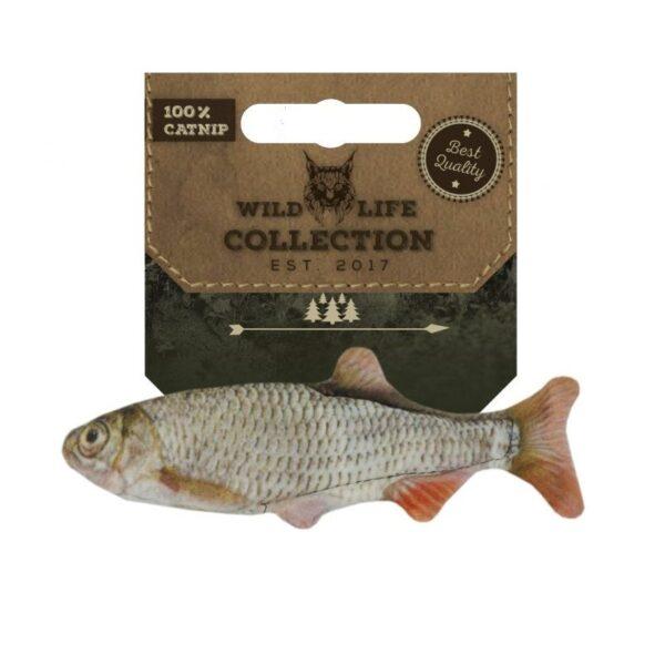 Wild Life Collection Roach Voorn vis met kattenkruid catnip gevuld mooi zacht kattenspeeltje