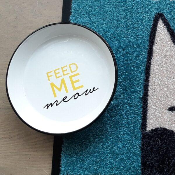 de Katviseur - Feed me meow keramische eetkom snorhaarvriendelijk snorhaar vriendelijk