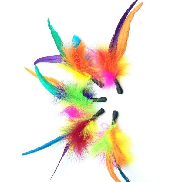 Purrs Flingie Fluffie kleurrijke standalone prooi - kattenspeeltje - veren