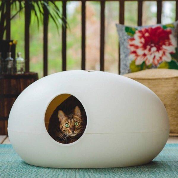 Poopoopeeedo - kattenbak of kattenmand wit kat gebruik 2