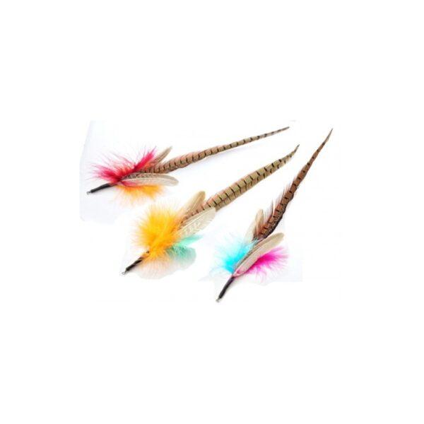 Purrs Cat Toys - Pheasant Tail fazantenveer prooi voor hengels kattenspeeltje kattenhengel