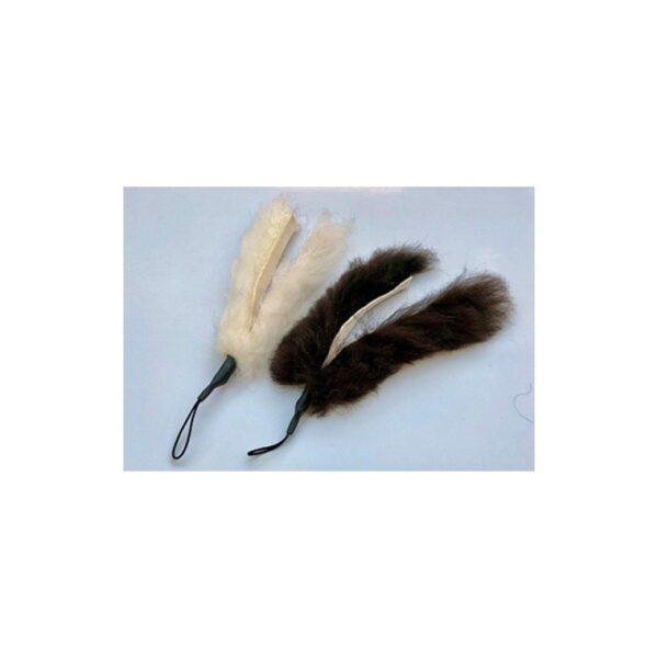 Purrs Cat Toys - Sallie Sheepie Chaser zwart en wit achterkant - kattenhengel - kattenspeeltje