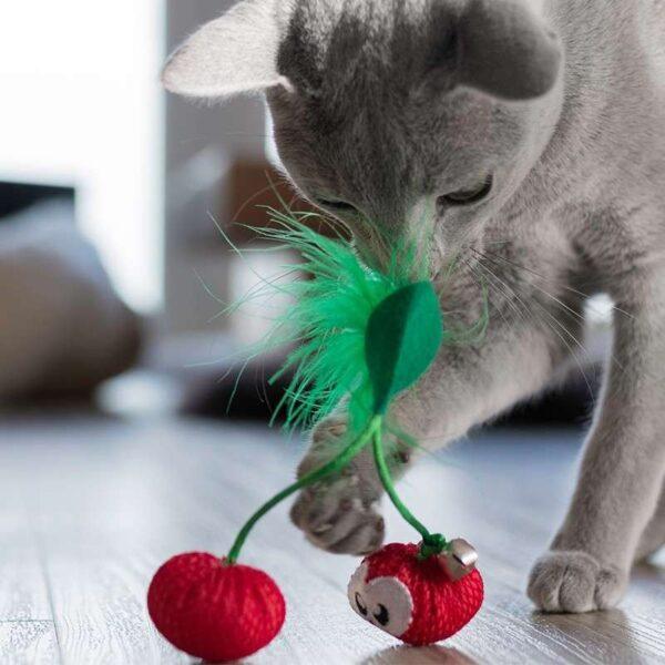 Petstages - Dental Cherries Close up kattenspeeltje gezond voor gebit met kattenkruid