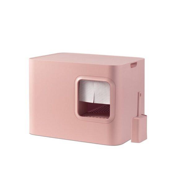 Dome kattenbak roze gordijntje