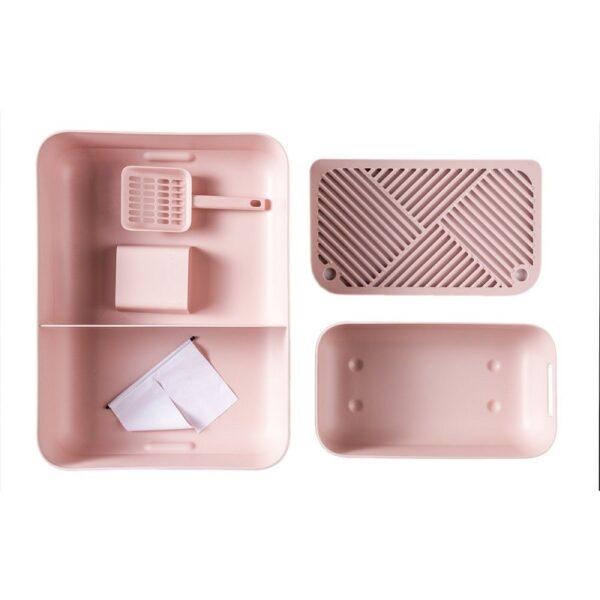 Dome kattenbak roze topview