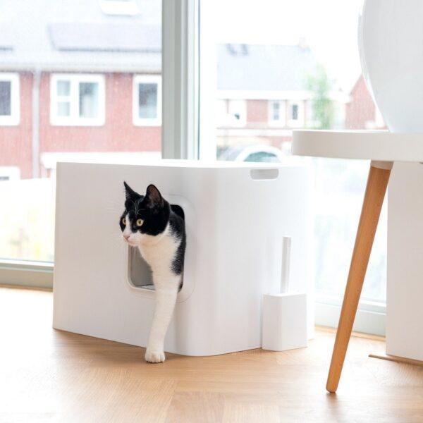 Dome kattenbak wit kat